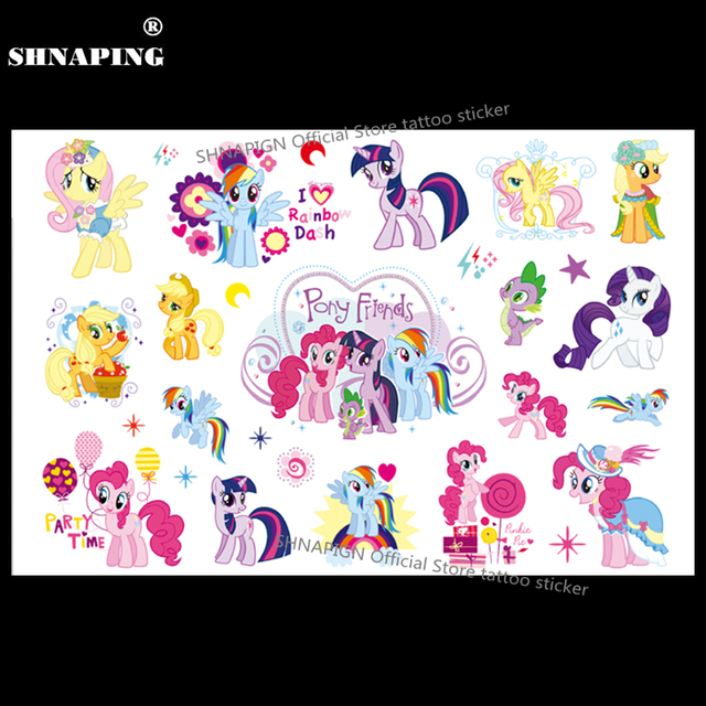 SHNAPIGN My Little Pony Friends Temporary Body Art Flash Tattoo Sticker 10x17cm Waterproof Henna Fake Styling Tattoo Sticker