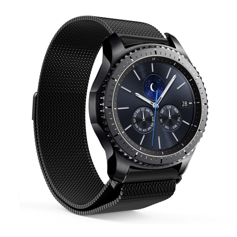 Kartong For Gear S3 Classic / Frontier Smartwatch Band 22MM Milanese Sløyfe Stainless Steel Strap Replacement Buckle Strap