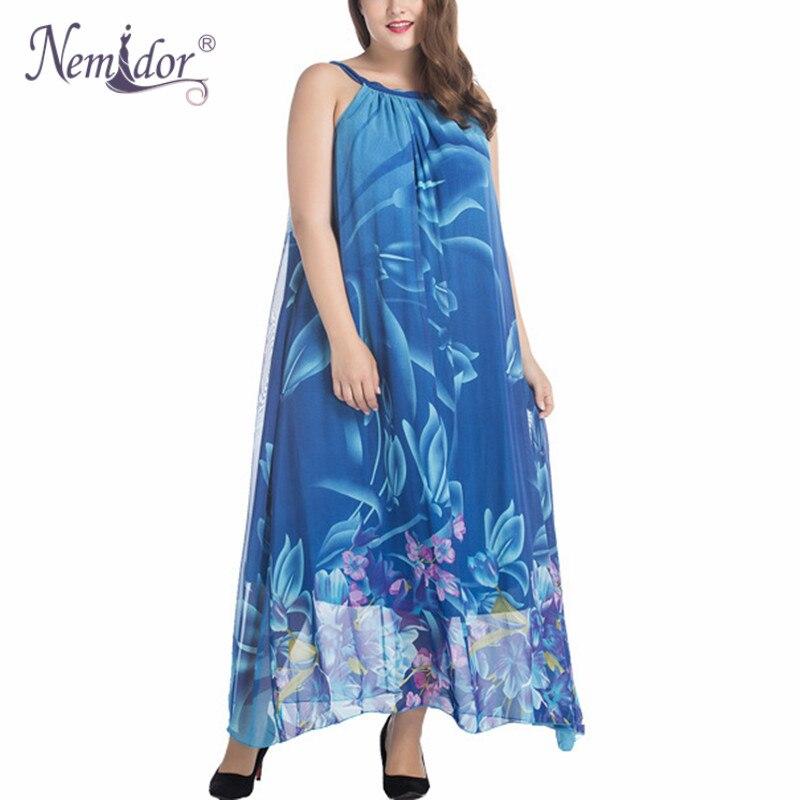 Nemidor 2018 New Arrival Women Casual O-neck Party Chiffon Dress Plus Size 7XL Sleeveless Chiffon Summer Print Long Dress