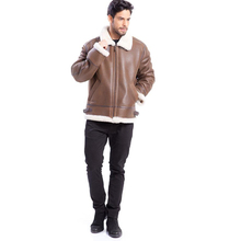 Denny Dora Classic Fashion Winter Leather Jacket Brown for Men b3 Shearling Leather Jacket Bomber Flight