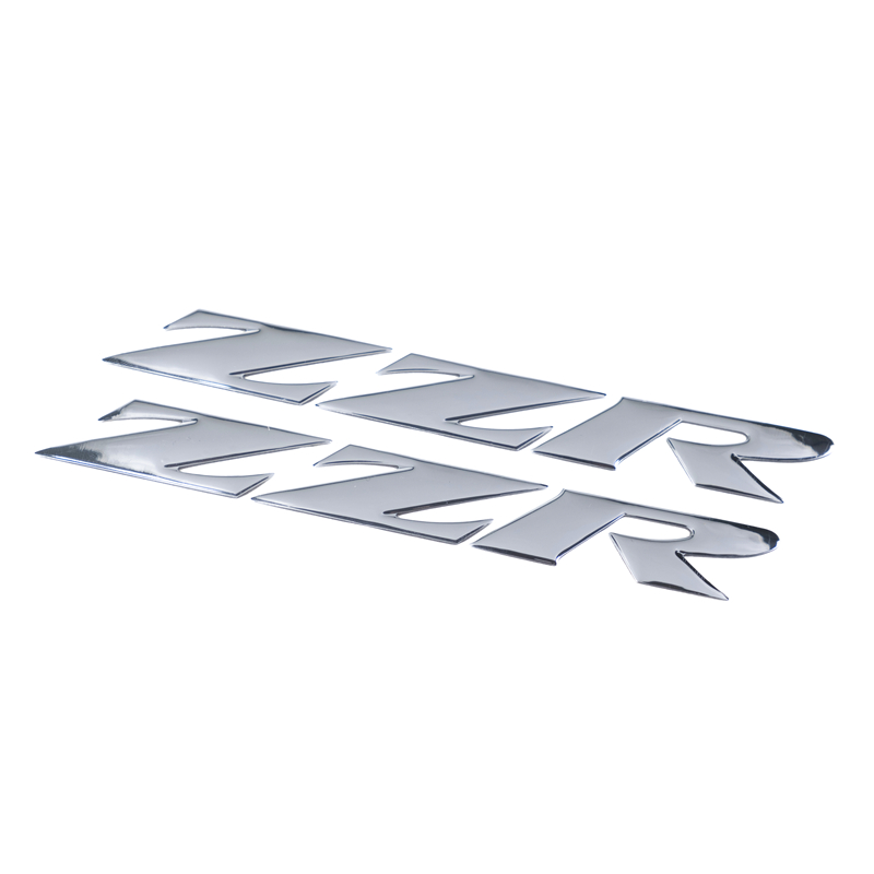 Raised 3D Chrome ZZR1400 Emblem Silver Decal Real Carbon Fiber Tank 1400 Sticker