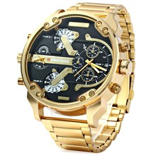 Men Watches Luxury Brand Men Military Multiple Time Zone Wrist Watches Full Steel Men Sports Watch Relogio Masculino 2017 oulm leather fabric men s big watches famous luxury brand male quartz watch multiple time zone sports men large wristwatch