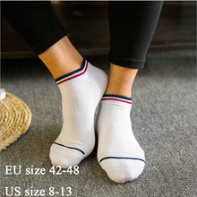 10 Pairs Summer Plus Size Cotton Mens Socks Big Large Short Ankle Stripes Dress White Black