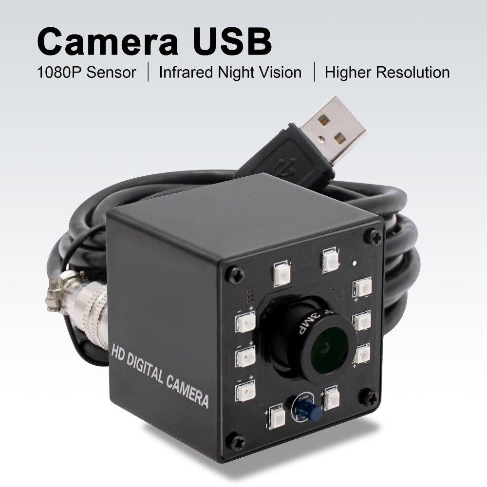 Infrarouge webcam usb 1080 P Full HD MJPEG 30fps vision nocturne IR CUT Mini maquillage pour cheveux avec Led pour Android, Linux, windows, PC