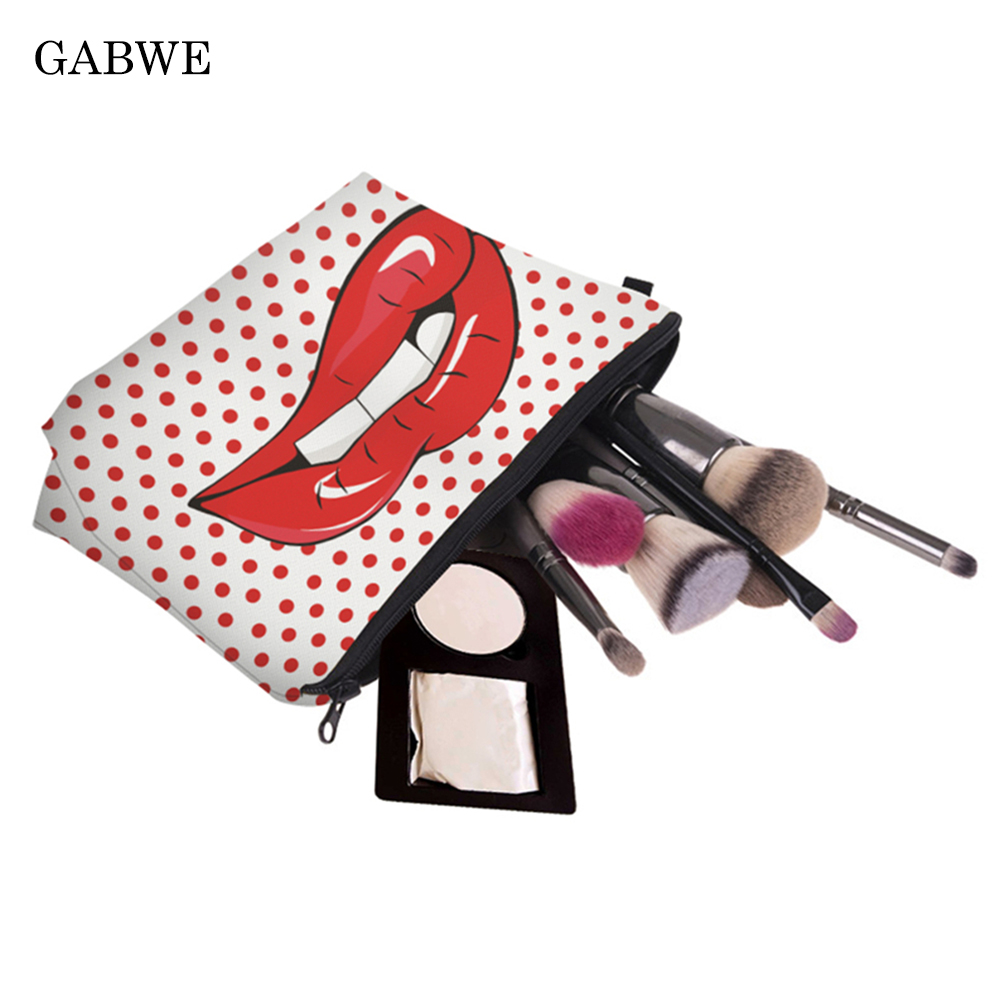 GABWE 3D Printed Red Lips Makeup Bags With Red Circle Pattern Cute Cosmetics Pouchs For Travel Ladies Pouch Women Cosmetic Bag