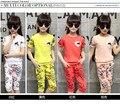 Corto manga del verano pantalones de chándal in the cuhk vestido de niña impreso juego del bebé 2-11 años