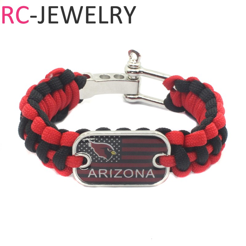 2# American football Arizona Cardinals Survival Paracord Bracelet for Men for Sports Football Fans Gifts