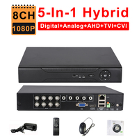 CCTV 8CH AHD 1080N DVR IP NVR TVI CVI Analog 5 IN 1 Hybrid HVR Surveillance HDMI 3G WIFI ONVIF P2P Mobile View Motion Detection