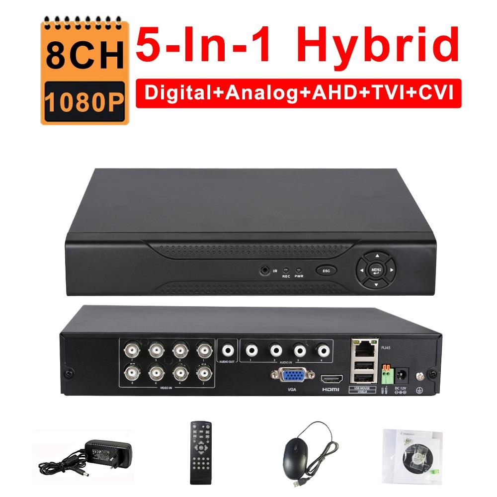 CCTV 8CH AHD 1080N DVR IP NVR TVI CVI analogique 5-en-1 hybride HVR Surveillance HDMI 3G WIFI ONVIF P2P vue Mobile détection de mouvement