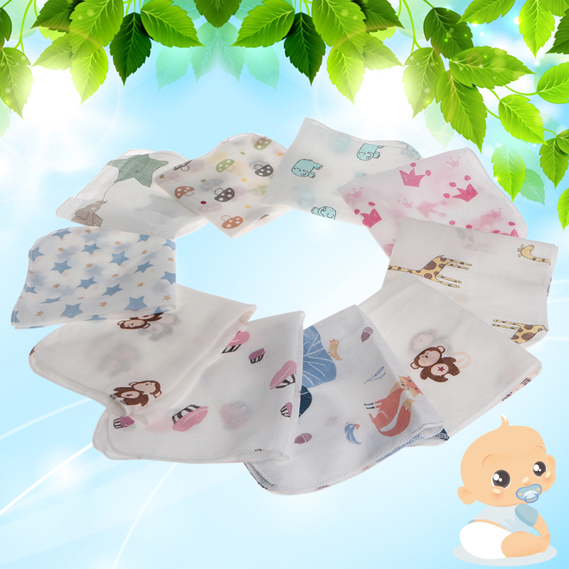 10pcs Baby Infant Towel 28*28cm Muslin Towel Handkerchiefs Two Layers Wipe Towel