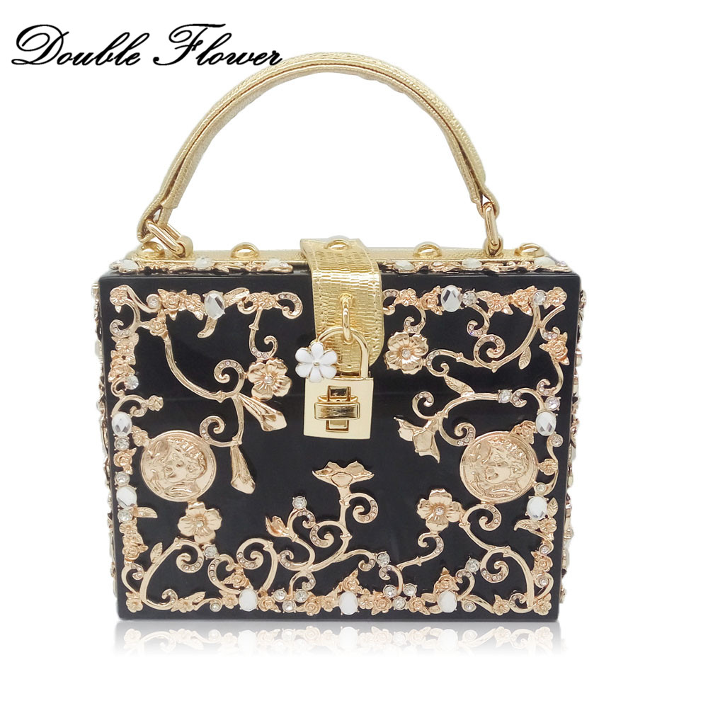 Double Flower Metal Appliques Women s Fashion Shoulder Bags Hard Case Box Clutch Handbags Ladies Crossbody