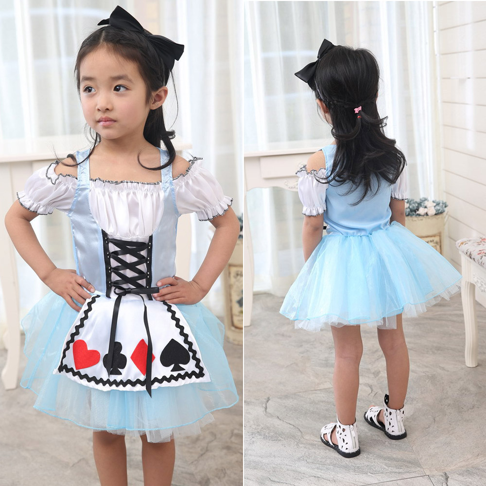 Alice in Wonderland Girls Fancy Dress Cosplay para niños Libro Infantil Día de la semana Cuento de hadas Poker Princesa azul Vestido