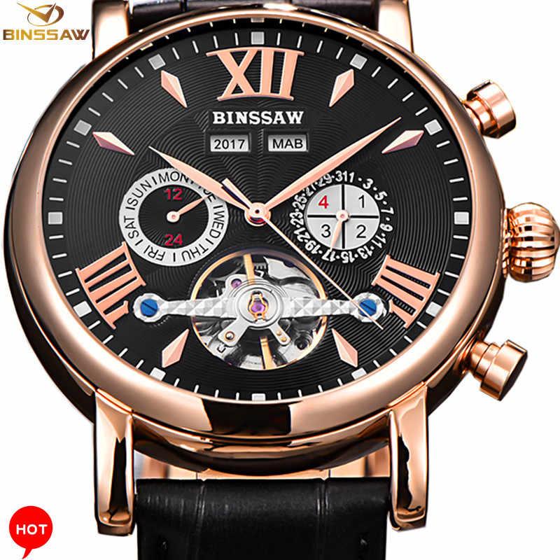ecf53cd0f Binssaw Men Automatic Mechanical Watch Sports Luxury Brand Watch Men  Tourbillon New Fashion Sports Leather Man