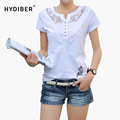 New 2017 Fashion Women t-shirts V-neck Summer Slim Women's Short Sleeve Print Casual Lace Cotton White Tshirt Plus Size Tops 3XL