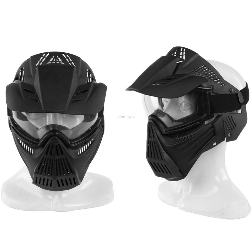 Tactical Breathable Full Face Mask Transformers Leader Mask Lens Vision Protective For Hunting CS Wargame Paintball Mask