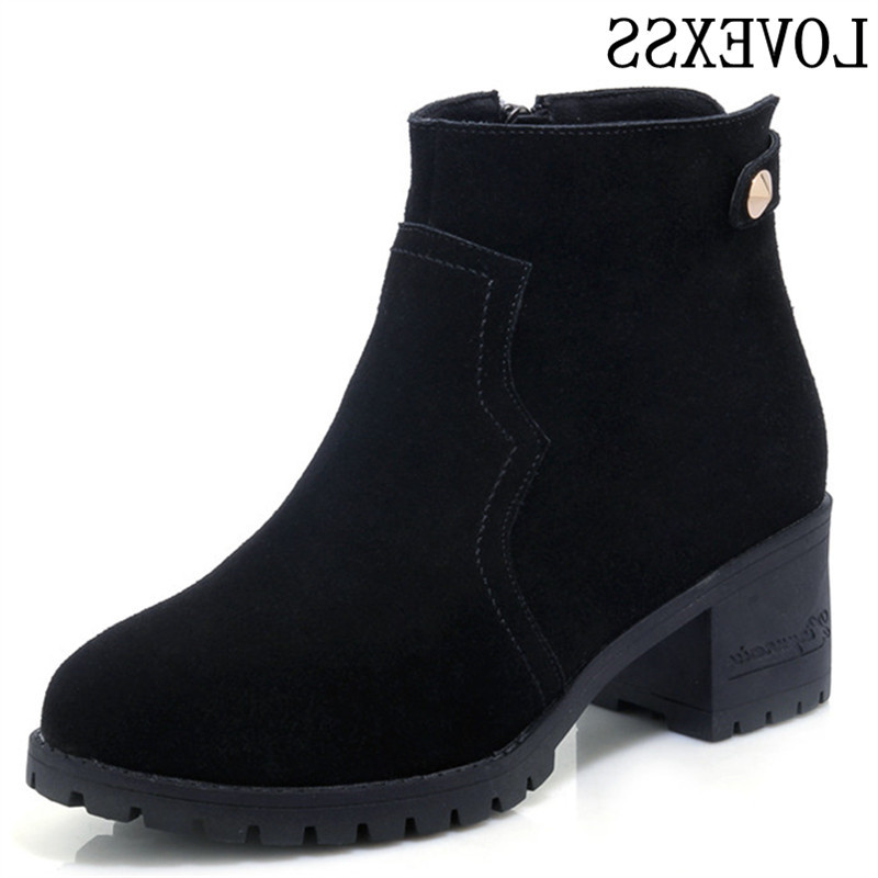 LOVEXSS Women Cow Leather Round Toe High-Heeled Ankle Boots Dark Brown Gray Lilac Black Cow Leather Round Toe Ankle Boots 2017