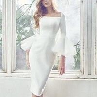 Dressnow Высокое качество Весна одежда Для женщин Офисные женские туфли Кружева Оболочка платье карандаша белый Flare рукавом сетки платье с длин