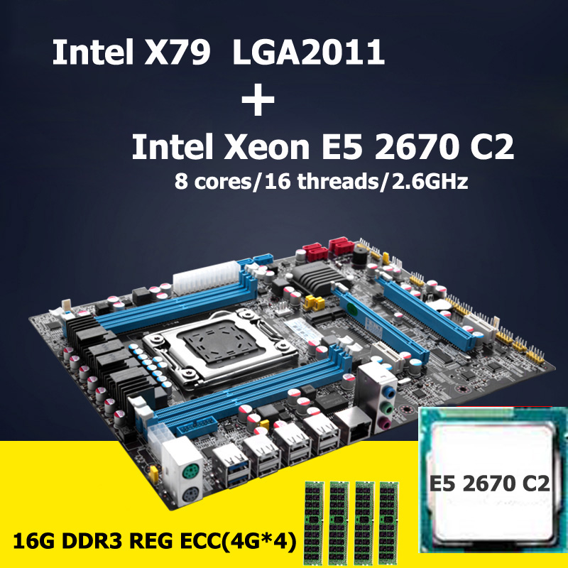 HUANAN motherboard CPU set Intel X79 LGA 2011 motherboard with CPU Xeon E5 2670 C2 (4*4)16G DDR3 REG ECC 4 channels Crossfire original e5 2670 cpu 20m cache 2 60 ghz 8 00 gt s intelqpi ga 2011 srokx c2 suitable x79 motherboard