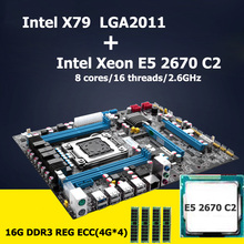 HUANAN carte mère CPU ensemble Intel X79 LGA 2011 carte mère avec CPU Xeon E5 2670 C2 (4*4) 16G DDR3 REG ECC 4 canaux Crossfire