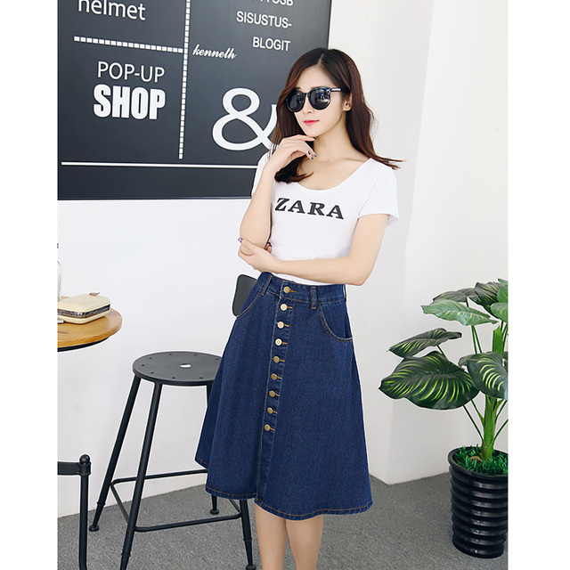 895c8635fb Women Denim Skirt Ladies Lace Jeans Knee Length Skirts Casual Women Pleated Skirt  Free Shipping Straight