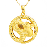 Pure 24K Yellow Gold Pendant 3D 999 Gold Snake Rabbit Pendant 2.74g