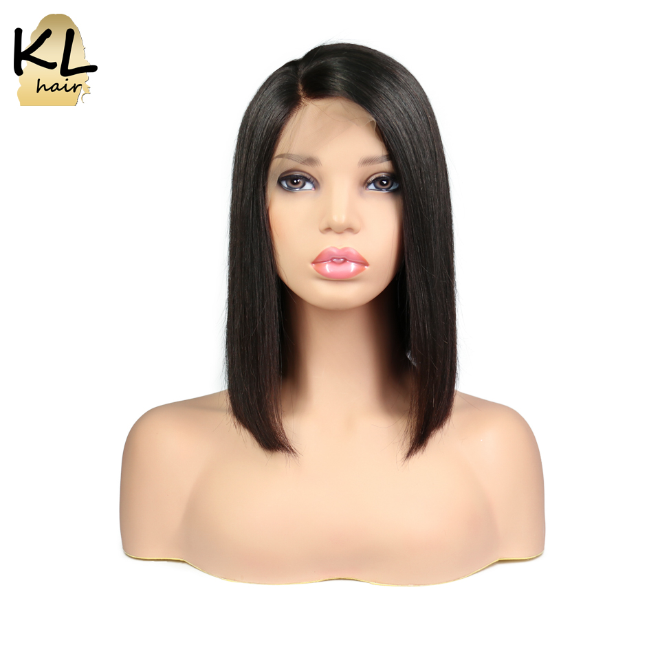 KL Hair Lace Front Human Hair Wigs For Women Natural Black Brazilian Remy Hair Straight Short