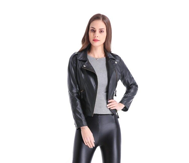 2018 Yeni Moda Kısın Yaka Kadın Deri Ceketler Ince PU Deri Motor - Bayan Giyimi - Fotoğraf 3