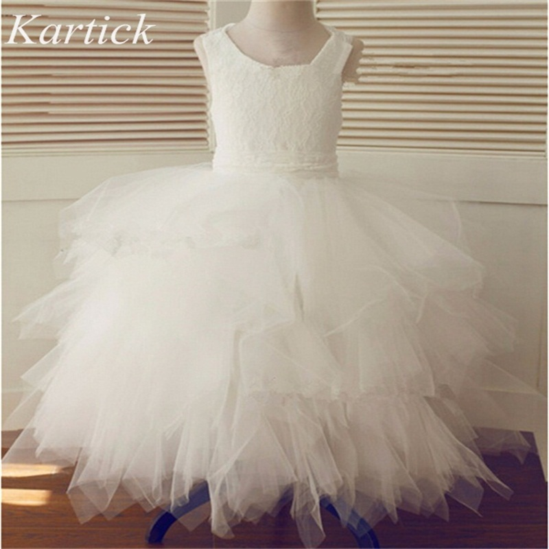 Brand New Flower Girl Dresses With Lace Up Ball Gown Party Pageant Communion Dress For Wedding Little Girls Kids/Children Dress