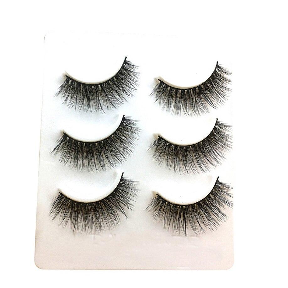 MAANGE Super Natural Long Fake Eyelashes 3 Pairs Long False Eyelashes Makeup Natural Fake Thick Black Eye Lashes Full Size Eye L