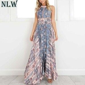 Image 1 - NLW Boho mavi çiçek Maxi elbise Halter yaz elbisesi 2019 kadınlar yüksek bölünmüş Backless seksi uzun elbise plaj partisi Chic kız Vestido