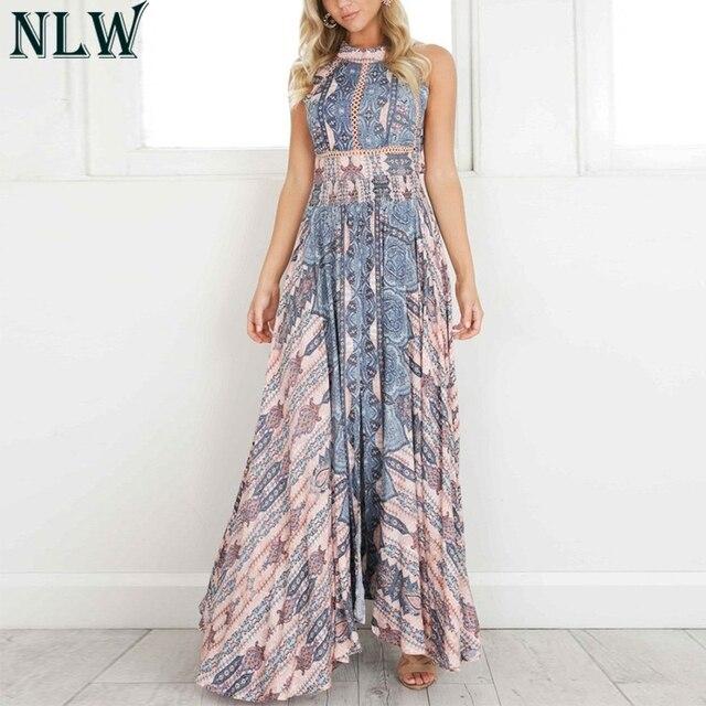 NLW Boho mavi çiçek Maxi elbise Halter yaz elbisesi 2019 kadınlar yüksek bölünmüş Backless seksi uzun elbise plaj partisi Chic kız Vestido