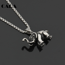 New arrival Lucky vintage 316L stainless steel solid elephant necklace pendant mens fashion jewelry CAGF0151