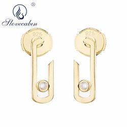 Slovecabin 2018 Summer European 925 Sterling Silver Rock & Punk Move Addiction Jewelry Move Free Rose Gold Brand Drop Earring