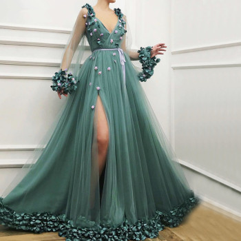 Mint Muslim Evening Dresses A-line Long Sleeves Tulle Flowers Islamic Dubai Saudi Arabic Formal Gown - discount item  10% OFF Special Occasion Dresses