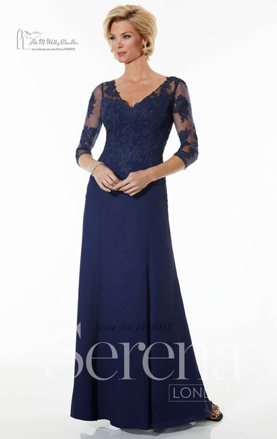 Navy Blue Lace Plus Size Mother Of The Bride Dresses Custom Made