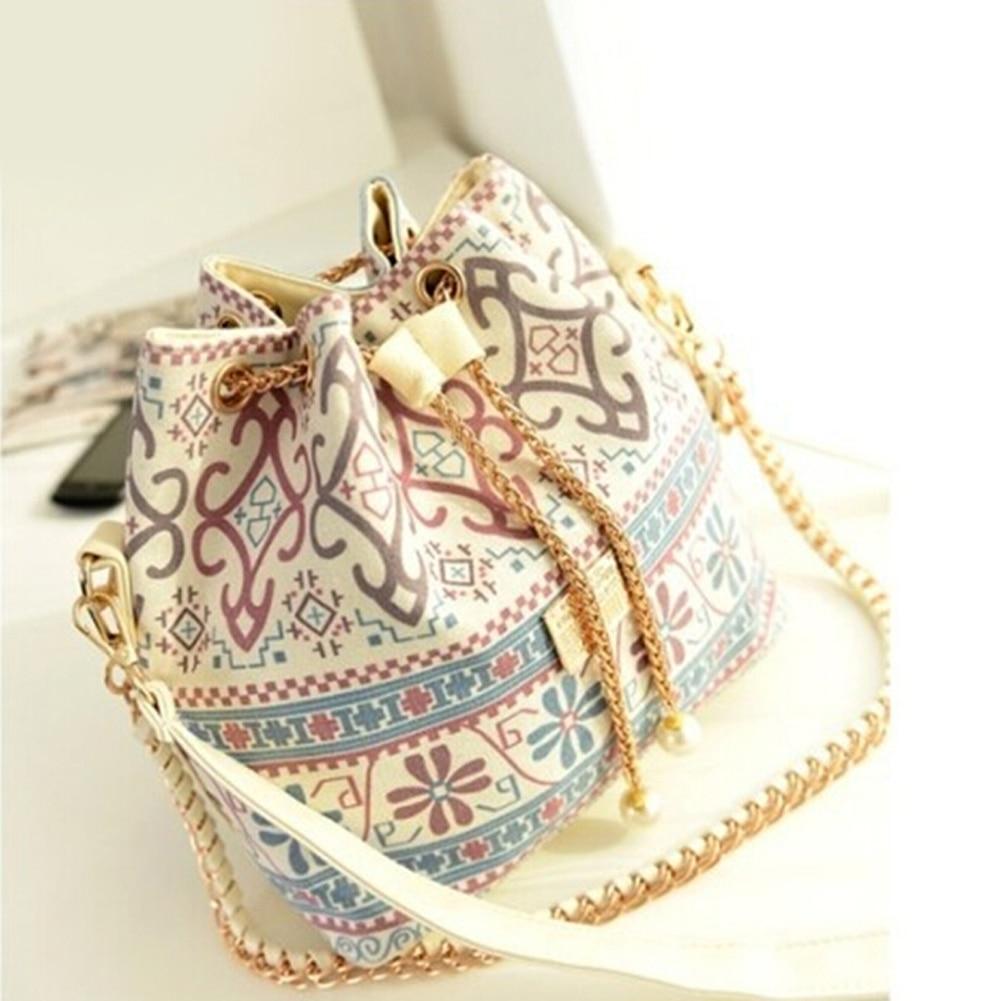 Bohemia National Style Canvas Drawstring Bucket Bag Chains Shoulder Handbags Vintage Messenger Bags