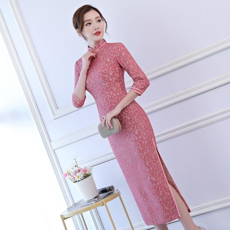 Chinois Z079 Femelle D'été Arrivée S z079 Cheongsam xxxl Broderie Col Taille Mandarin Qipao Nouvelle Traditionnel Fleur Robes Longues Mince xqwfnwW
