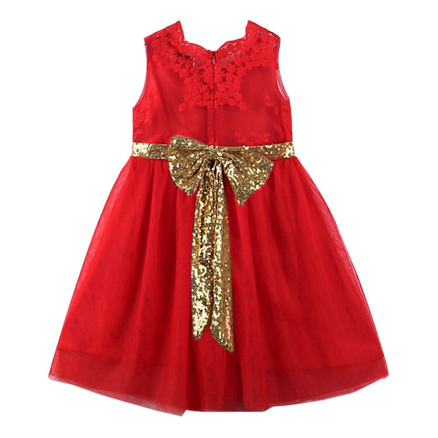 2018 Child baby Bow dress bridesmaid dress sequined children s girl lace  sleeveless yarn dress 2-6T  YL 6ed508a6b648