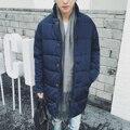 2017 inverno nova moda dos homens no longo azul escuro algodão W852 s P100