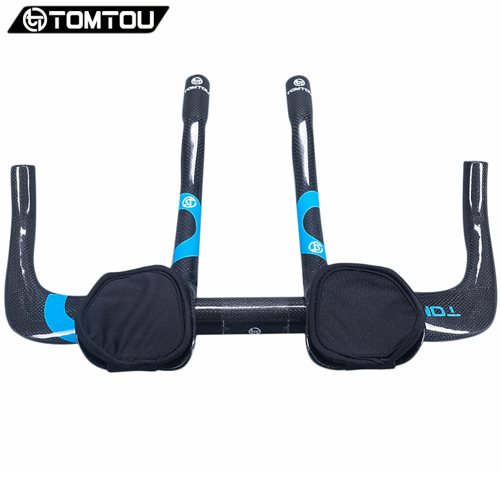 TOMTOU Full Carbon Bicycle Rest Put Handlebar Aero Carbon TT Handle bar + TT Bar End 3K Finish Glossy Blue - TC5T23 cycling grips bicycle bar end handlebar pair blue