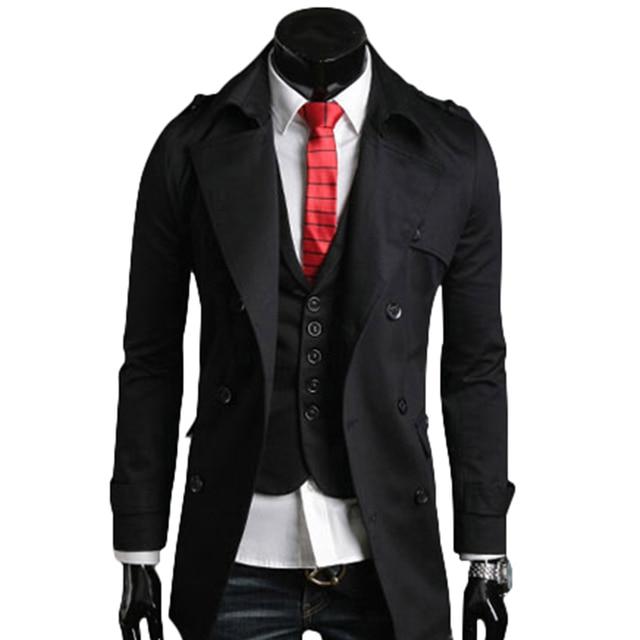 002551fd0447e Elegant British Style Black Ivory Trench Coat Men Double Breasted Casual  Office Coat Mens Windbreaker