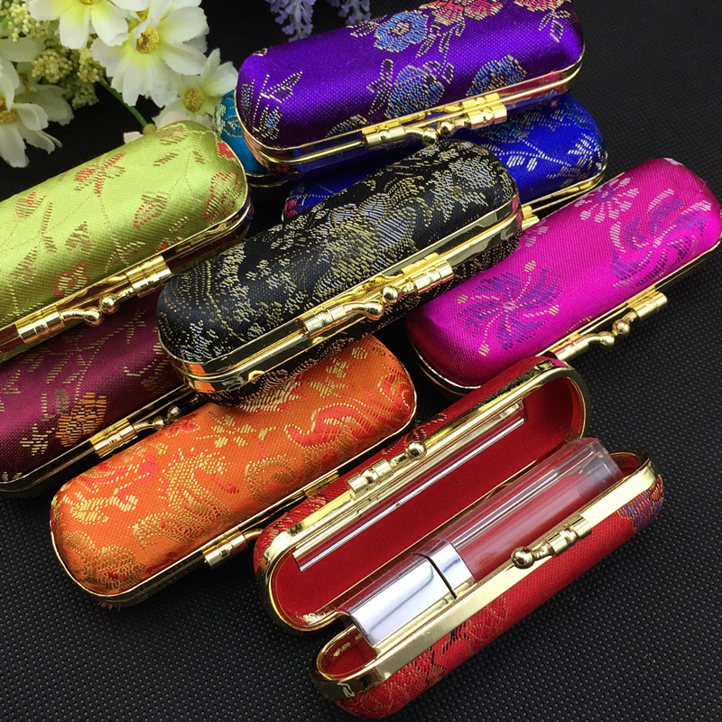High End Silk brocade Travel Jewelry Gift Boxes with Mirror Empty Lipstick Tubes Packaging Box Lip Balm Containers Storage Case