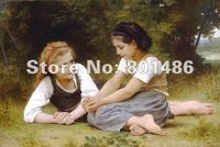 Handmade Oil Painting The Nut Gatherers by William Adolphe Bouguereau Wall Art Famous Painting Reproduction