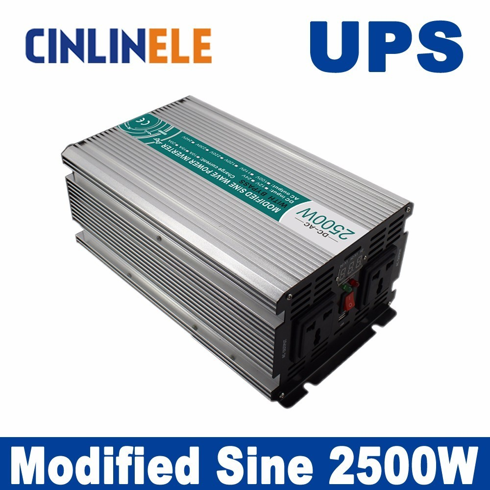 Universal inverter UPS+Charger 2500W Modified Sine Wave Inverter CLM2500A DC 12V 24V 48V to AC 110V 220V 2500W Surge Power 5000W 5000w dc 48v to ac 110v charger modified sine wave iverter ied digitai dispiay ce rohs china 5000 481g c ups