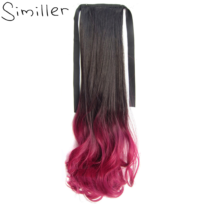 Similler 22 Ombre Long Curly Wrap Around Ponytail Synthetic Hair Extension 90g 13 Colors Available ...