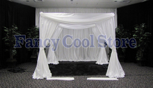 Wedding Canopy Curtain with Stand Pavilion Frame with Backdrop Curtain White color 10ft x 10ft x 10ft