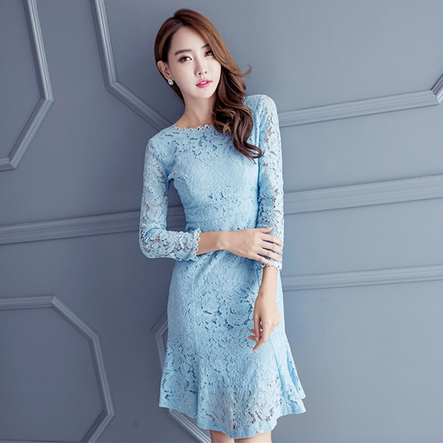 4ce92fdf94e Women Spring Summer Dress 2017 New Fashion Sexy Hollow Long Sleeves Knee  Length Elegant Party Lace Dress Blue Pink Plus Size S-L