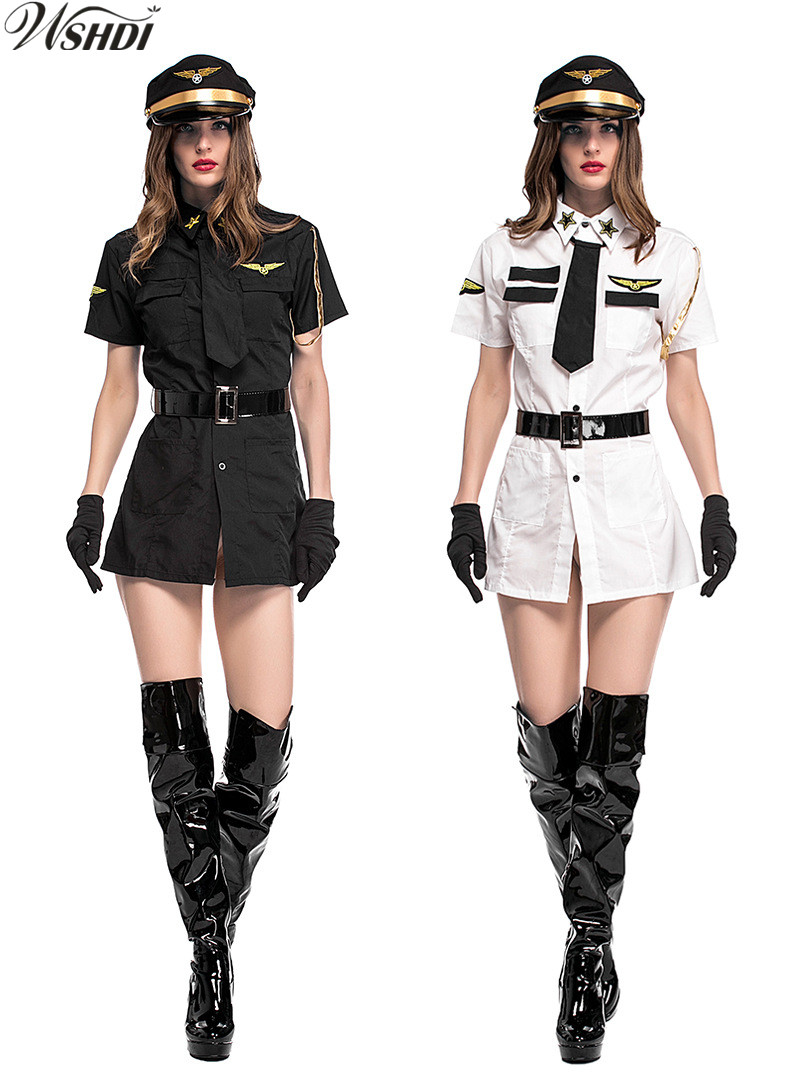 Black White Sexy Women Pilot Costumes Adult Female Make Up Party Dress Fancy Uniform Stewardess Cosplay Suit Halloween Costumes-In Sexy Costumes -9487