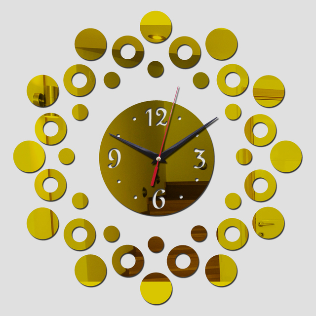 New large wall clock modern design 3d mirror For home decor