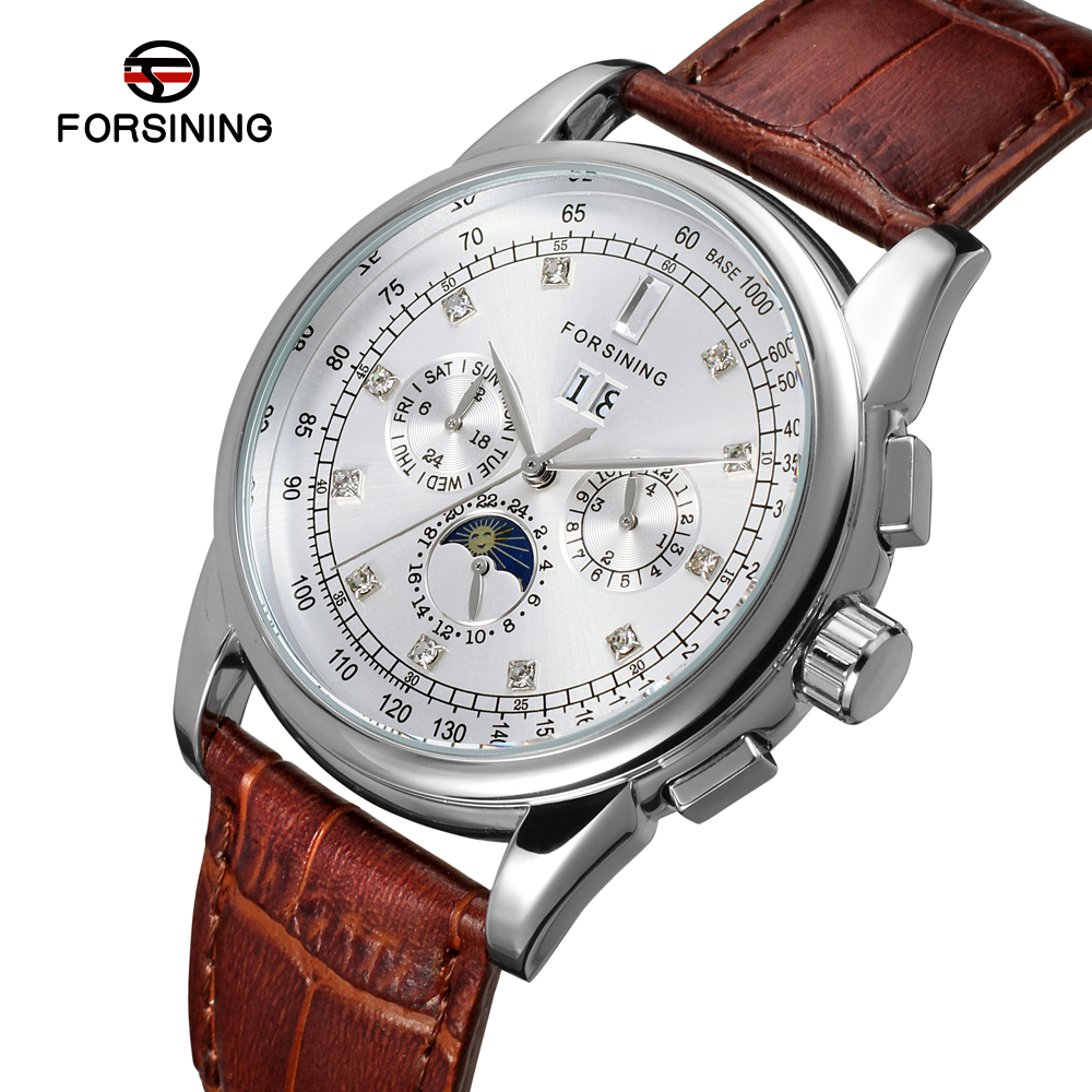 FSG319M3S3 New arrival Automatic fashion men moon phase watch black genuine leather strap free shipping with gift box цена